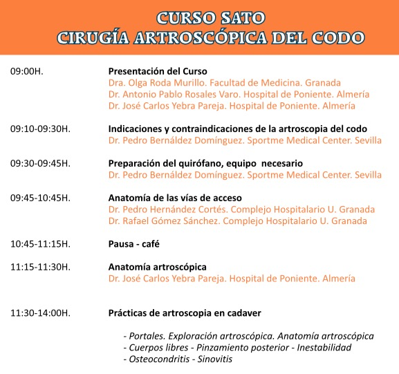 PROGRAMA Curso Artroscopia de Codo Granada