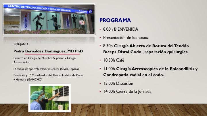 PROGRAMA II JORNADAS QUIRURGICAS CODO SPORTME DR BERNALDEZ