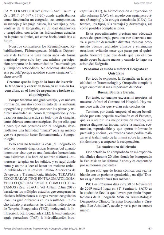 Nueva publicación del doctor Pedro Bernaldez La Tercera Mano..