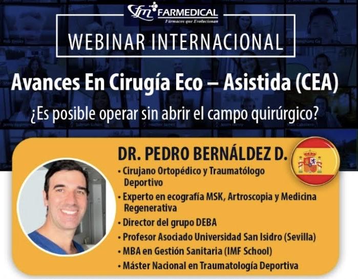 """Clase Magistral Webinario sobre """"Novedades en Cirugía Eco-Asistida CEA, Ultrasound-guided Surgery""""  por el Dr Bernáldez"""