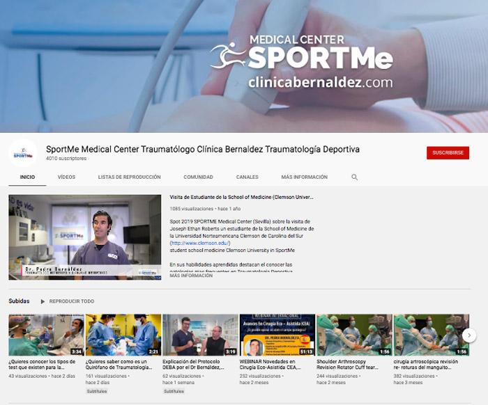 canal de Youtube de Clínica SportMe Sevilla