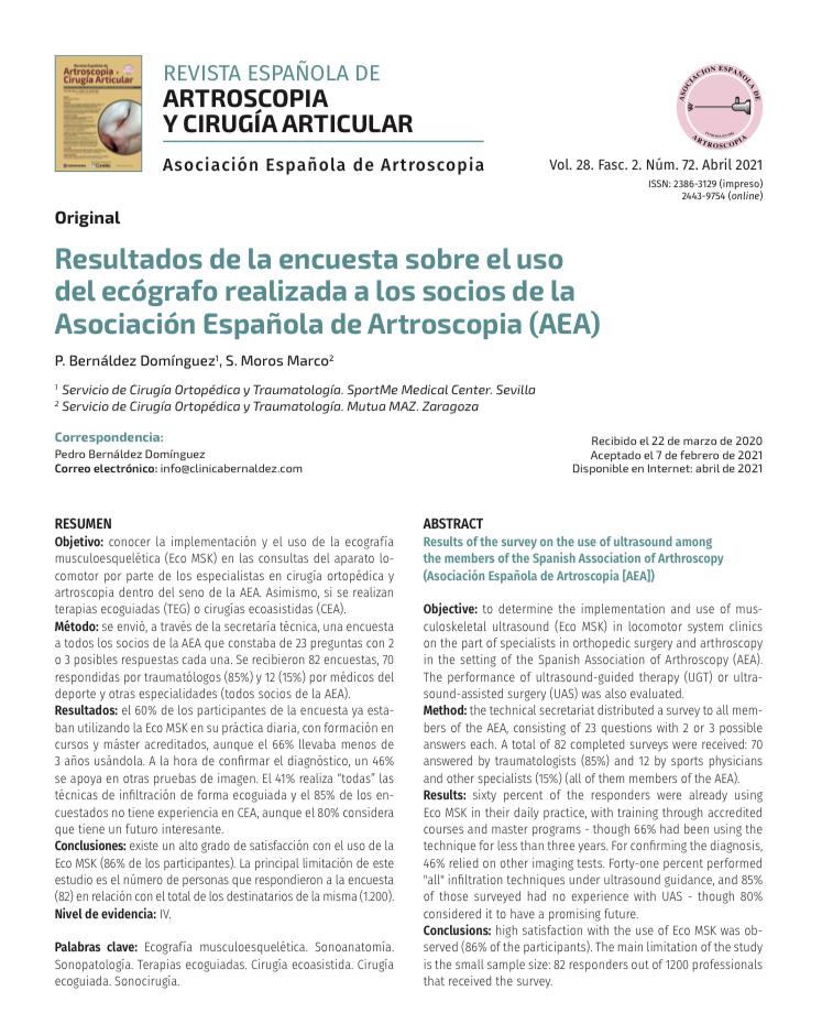 Nueva publicación cientifica del Dr Bernáldez